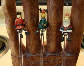Christmas drink stirrers, Christmas swizzle sticks, set of 3