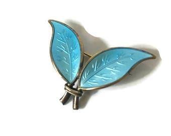 Vintage David Andersen Sterling Guilloche Norway Blue Aqua Double Leaf Pin Brooch, Norway Sterling Silver