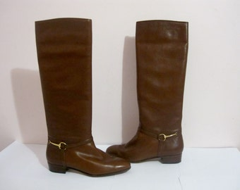 GUCCI vintage riding boots 37 6 6.5 7 / 80s GUCCI horsebit boots / vintage brown leather boots / knee high boots