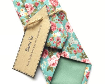 turquoise floral tie, rose print tie, mens floral skinny tie, mens skinny tie, wedding tie, men's floral tie