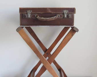 Vintage Folding Wooden Luggage / Suitcase Rack / Tray Table / Guest Room /  B&B