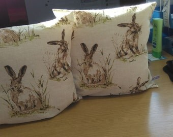 Hare Cushions, Pair of Hares