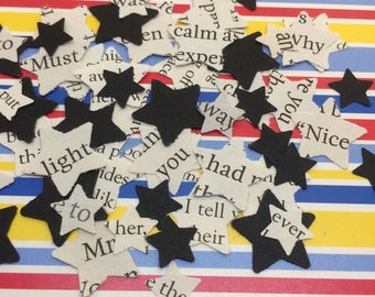 Book Page | CONFETTI | BLACK | STAR | Wedding | Decorations | Paper | Table Scatters | Craft Embellishments | Photo Prop | 300 Pieces