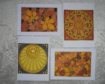 Set of 4 handpainted silk cards