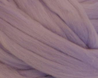 Dyed Merino - Iris - Solid color commercial dyed - combed top roving spinning felting fiber fibre arts  - pastel purple