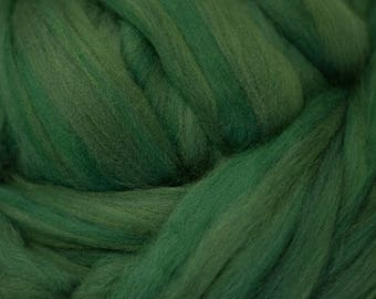 Dyed Merino - Pine - Solid color commercial dyed - combed top roving spinning felting fiber fibre arts  - brilliant dark green