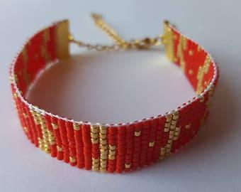 Bracelet perles de verre Miyuki rouge et doré tissé à la main. Ajustable