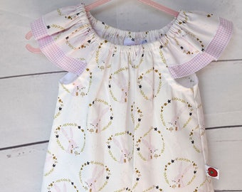 White/pink bunny print flutter sleeve top for baby/toddler girls size 1