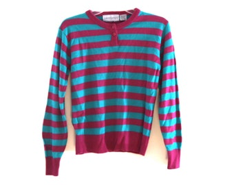 Vintage 80s sweater striped magenta teal