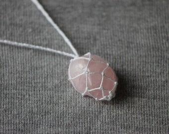 Rose Quartz Macrame Necklace - White