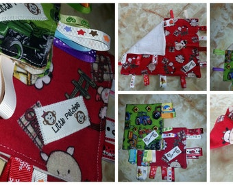 HALF PRICE: Ribbon Sensory mini Blanket - set of 2 - tractor , farm animals print - for baby, toddler