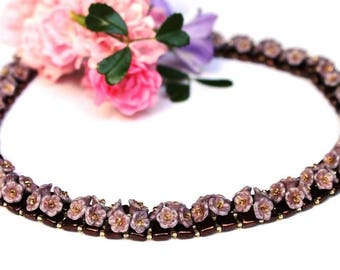 "Necklace ""Sweety"" classically elegant flowers"