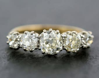Antique Diamond Ring - Edwardian Diamond Anniversary Ring - 18ct Gold & Platinum Five Stone Edwardian Diamond Ring