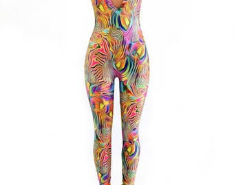 Tropical Swirl Trippy Psychedelic Flip Sleeve Deep Plunging V Neck Spandex Catsuit (No Hood) 154408