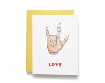Love. I Love You Hand Sign Watercolor Card.