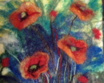 Watercolor painting with wool,  poppies, wool, wet process