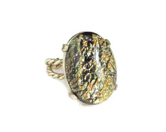 Foil Glass Ring - Vintage Oval Adjustable Gold Tone Ring, Fun Gift for Her