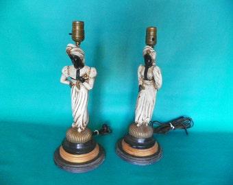 Vintage Chalkware Blackamoor Nubian Lamps 1940s