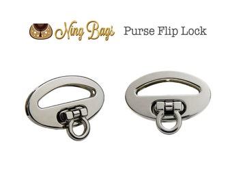 Set of 2 // Purse Flip Lock, Purse Turn Lock, Handbag Closure, Handbag Hardware in Silver Finish (NEW)