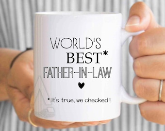"""gifts for father in law """"world's best father in law"""" mug, father in law gift, fathers day gift, father in law wedding gift, coffee mug MU585"""