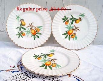 Clearance! Set of 3 Vintage J&G Meakin England Classic Fruits Design plates. Circa 1962+