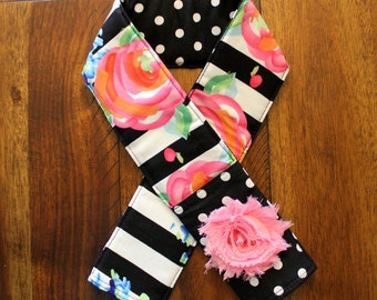 Black & White Striped Floral Camera Strap Cover - Monogrammed - With Flower - Padded - Lens Cap Pocket - DSLR - SLR
