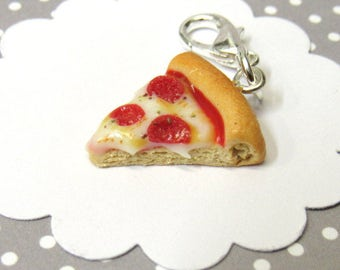 Pepperoni Pizza Charm, Food Charm, Miniature Food Jewelry, Stitch Marker, Progress Keeper, Polymer Clay Food, Planner Charm