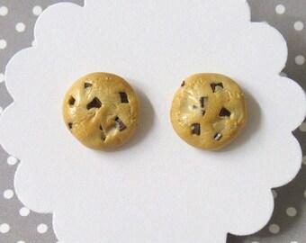 Chocolate Chip Cookie Earrings, Food Earrings, Cookie Earrings, Hypoallergenic, Miniature Food Jewelry, Polymer Clay Food, Cute Earrings