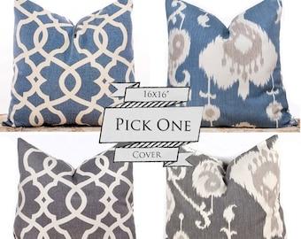 "SALE ENDS SOON Ikat Pillows, Blue Throw Pillows, Gray Cushion Covers, Decorative Lattice Pillows, Pillow Pairs, 16 x 16"""