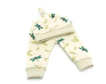 Organic Baby Gift, Organic Baby Clothes, Organic Baby Set, Organic Baby Leggings, Knot Hat, Dragonflies