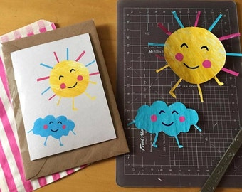 Happy Sunshine and Cloud A6 Card