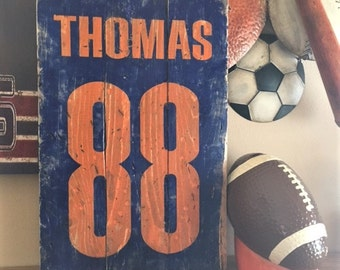 Wood Sign Jersey for Football, Baseball, Soccer, Basketball, Distressed