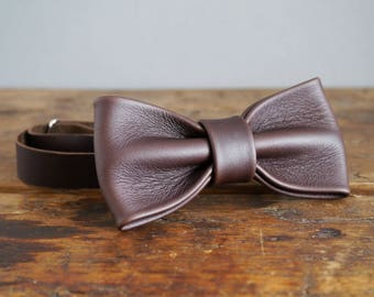 Leather Bow Tie - Dark Brown Real Leather Bow Tie - Wedding Bow Tie - Dickie Bow - Groomsmen Bow Tie
