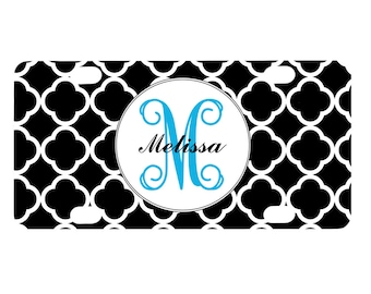 Monogrammed Bicycle License Plate, Black White Quatrefoil Design, Bike License Plate, Monogram Initials Letters, Personalized Bicycle Tag