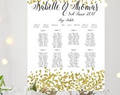 Gold Confetti Printed Personalised Wedding Table Plan  Seating Chart   Gold Confetti glitter design