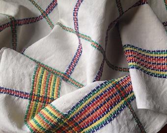 Vintage Linen Tablecloth, Rustic Linen, Mid Century, 1950s, VTC223