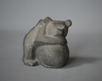 CAST IRON Bear Figurine, by Swiss Company Zent AG, Swiss Memento Figurine Collectible, Made in Switzerland, Brutalist Design