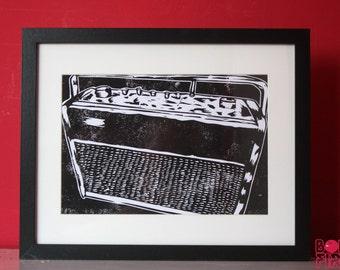 Turn It Up! (Black) A4 Linocut Print