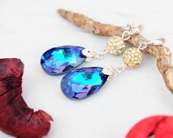 Sterling Silver Blue Swarovski Earring-Silver Studs Earrings-Swarovski Jewellery-Heliotrope Swarovski Crystals-Gold Dangle Teardrop Earrings
