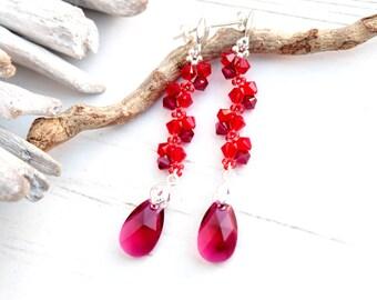 Long Sterling Silver Swarovski earrings Beaded dangle drop Swarovski earrings Ruby red teardrop crystal earrings Wedding bridesmaids earring