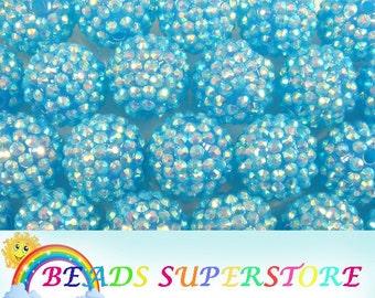 SALE 20 mm Deep Turquoise AB Rhinestone Chunky Bubblegum Round Bead - Gumball Bead - Acrylic Chunky Bead - 10 pcs (CHR21)