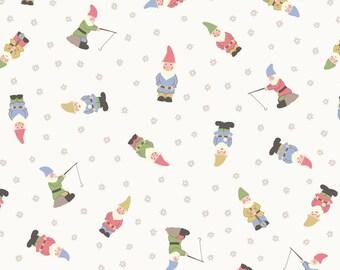 Lewis & Irene Grandma's Garden Patchwork Quilting Fabric A199.1 Garden Gnomes on white