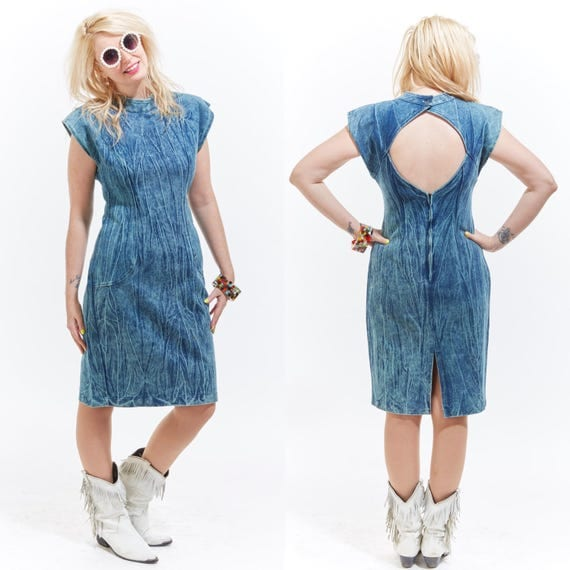 Vtg 80s 90s ACID WASHED Denim Mini Jean DRESS Cut Out Peekaboo Pin Up Retro Bodycon Wiggle Bandage Boho Futuristic Soft Grunge Avant Garde M