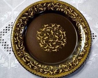 Vintage Franciscan Jamoca Dinner Plate Earthenware Brown Gold Scroll California USAPanchosporch