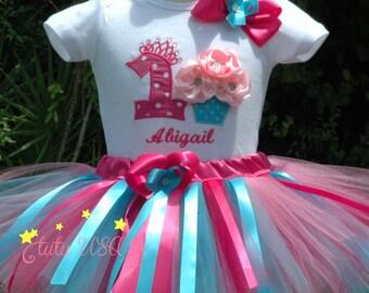 Cupcake Birthday Tutu Outfit.Fun Cupcake 1st Birthday Girl Outfit.Cupcake 1st Birthday Shirt.Baby Girl 1st Birthday Outfit.Pink Birthday