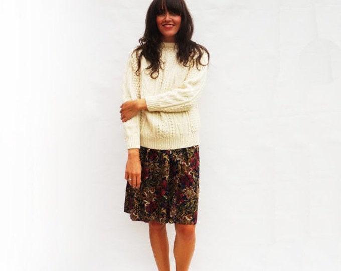 Floral Midi Skirt, Vintage 1980s High Waist Skirt, Gypsy Skirt, Vintage Skirt, Knee Length Skirt 80s Skirt Floral Skirt, Womens Skirts Short