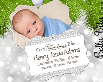 Baby's First Christmas Ornament Personalized Arrows Boho Hipster - Babies First Keepsake Ornament - Double Sided Aluminum 6084