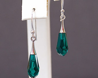 Green Swarovski Earrings with Teardrop Crystals on Sterling Silver - May Birthday Gifts