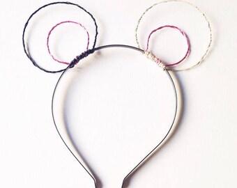 Panda Bear Ear Headband, Black White & Pink Wire Animal Ears, Round Costume Ears, Mouse Hairband, Novelty Photo Prop,