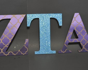 Hand Painted Greek Letters | Ombre Pattern Design with Glitter Letter